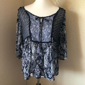 Knox Rose Boho Sheer Paisley Peasant Top Sz S